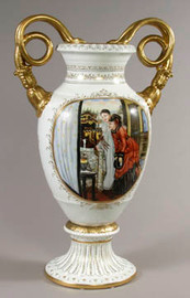 Luxury Hand Painted Reproduction Sevres Style Porcelain, 20 Inch Tabletop | Mantel Vase - Curiosity