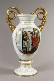 Luxury Hand Painted Reproduction Sevres Style Porcelain, 27t X 17w X 11d Tabletop | Mantel Vase - Curiosity