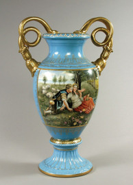 Luxury Hand Painted Reproduction Sevres Style Porcelain, 27 Inch Tabletop | Mantel Vase - Summer Courtship