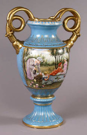 Luxury Hand Painted Reproduction Sevres Style Porcelain, 20 Inch Tabletop | Mantel Vase