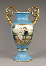 Luxury Hand Painted Reproduction Sevres Style Porcelain, 27 Inch Tabletop | Mantel Vase - Courting