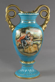 Luxury Hand Painted Reproduction Sevres Style Porcelain, 27 Inch Tabletop | Mantel Vase - Adoration