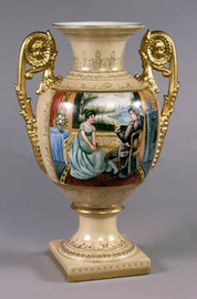 Luxury Hand Painted Reproduction Sevres  Style Porcelain, 17 Inch Tabletop | Mantel Vase