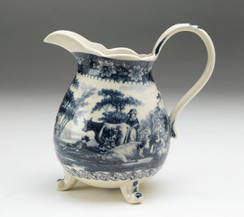 Blue and White Porcelain Transferware Decorative Pitcher - 7w X 5d X 7.5t