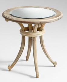 "Beveled Mirror and Hardwood - 25.5""t x 26""dia. Round Side, End, Lamp Table - Washed Oak Finish, 5938"