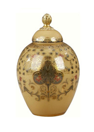 Luxe Life Finely Finished Hand Painted Glass and Gilt Bronze Ormolu, 8 Inch Covered Jar