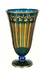 Luxe Life Finely Finished Cut Glass and Gilt Bronze Ormolu, 13 Inch Bedside | Vanity Vase