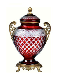 Luxe Life Finely Finished Ruby Red and Clear Cut Glass and Gilt Bronze Ormolu, 12 Inch Covered Urn