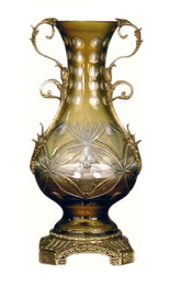 Luxe Life Finely Finished Amber Cut Glass and Gilt Bronze Ormolu, 12 Inch Tabletop | Mantel Vase