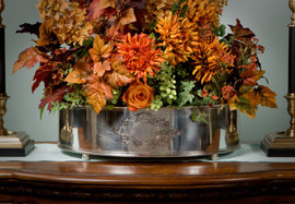 Indian Brass, 21 Inch Oval Centerpiece | Planter, Antique Silver Finish