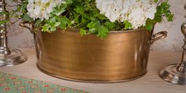 Indian Brass, 19 Inch Oval Centerpiece | Planter, Antique Brass Finish