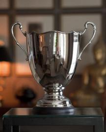 Indian Brass, 13 Inch Trophy Vase, Polished Nickel Finish