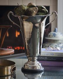 Indian Brass, 16 Inch Trophy Vase, Polished Nickel Finish