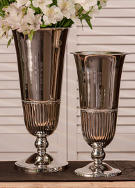 Indian Brass, 12.75 Inch Fluted Tabletop Vase, Polished Nickel Finish, Set of Two