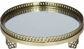 """Luxe Life Solid Brass and Mirror, 13"""" Decorative Display, Round Vanity Tray, Antique Bronze Finish, 5900"""