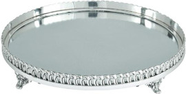 """Luxe Life - Solid Brass and Mirror, Display, Vanity Tray, Polished Nickel Finish, Oval Shape 15.5""""L X 12.5""""W X 2.25""""T, 5899"""