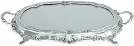 "Luxe Life - Louis XV, Sterling Silver and Glass Mirror, 23""L x 14""w Display, Vanity Tray, 5896"