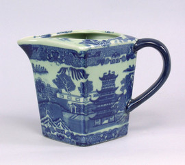 Blue and White Porcelain Transferware Decorative Pitcher | Vase 6t x 9L x 6.5w