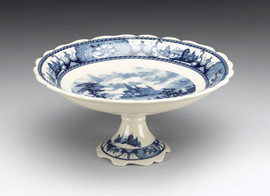 Blue and White Porcelain Transferware Decorative Compotier, Pedestal Bowl |Toile | Castle in the Country, Center |Flower Trim | Scallop border - 5.75t x 12d x12w