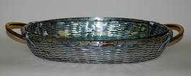 Basket Weave Aluminum, 16L Oval Frame Tray& Glass Bakeware with Polished Brass Accents, Set of Two