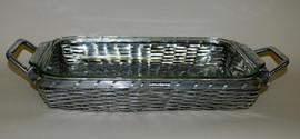 Basket Weave Aluminum, 13.25L Frame Tray& Glass Bakeware, Set of Two