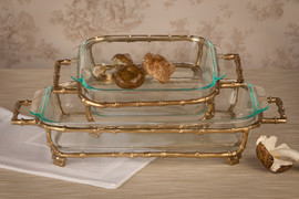Bamboo, 11.5 x 9.25Inch Frame Tray& Glass Bakeware, Polished Gold Finish, Set of Two