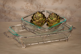 Bamboo, 11.5 x 9.25Inch Frame Tray& Glass Bakeware, Polished Nickle Finish, Set of Two