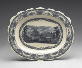 Blue and White Porcelain Transferware Decorative Plate | Platter | Countryside Castle Toile - Serpentine Oval, 17d x 20.5L x 2t