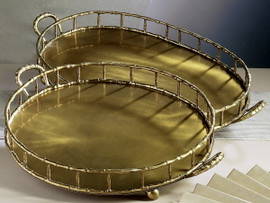 Bamboo - Indian Brass - 24 Inch Oval Display | Beverage Serving Tray - Aged Bronze Finish