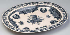 Blue and White Porcelain Transferware Decorative Plate | Platter - 20.5w X 16.5d X 1.5t