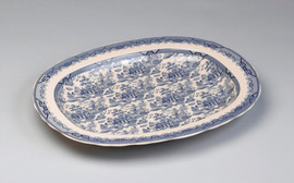 Blue and White Porcelain Transferware Decorative Plate | Platter | Traditional Chinese Design | Wavy Edge - 2t x 20.5L x 16.5d