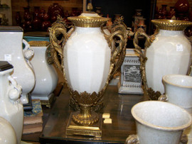 Lyvrich Handmade Luxury Porcelain and Gilded Ormolu - 17.5 Inch Statement Vase - Crackle White