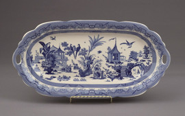 Blue and White Porcelain Transferware Decorative Plate | Platter | Chinoiserie, Oriental Scene | Undulated - 1t x 16L x 5d