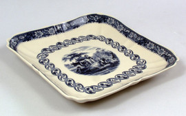 Blue andBlue and White Porcelain Transferware Decorative Platter | Tray | Pastoral Scene - 12L x 12d x 1t