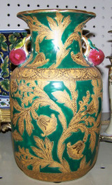 Lyvrich Handmade Luxury Porcelain 8 Inch Vase, Green and Gold Trumpet Flower