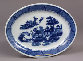 Blue and White Porcelain Transferware Decorative Platter 7076 AAA