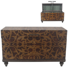Abstract Scroll Design - 40 Inch Accent | Storage Chest | Table