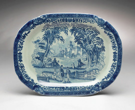 Blue and White Porcelain Transferware Decorative Plate | Platter | Leisure Time | Castle Themed | Slight Serpentine Cushion - 1t X 17L X 13d