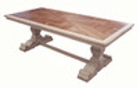 Custom Decorator - Hardwood Hand Carved Reproduction - 96 Inch Trestle Dining Table 5750 C - T274 TF