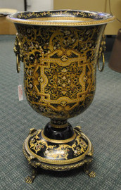 An Ebony Black and Gold Medallion - Luxury Handmade Reproduction Chinese Porcelain and Gilt Brass Ormolu - 21 Inch Statement Vase | Cassolette Urn - Style A449