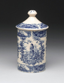 Blue and White Porcelain Transferware Decorative Canister, Jar | Joan of Arc | Floral Trim | Courtship Scene - 9.5t x 5.25w x 5.25d