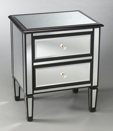 """Silver Mirror - 28""""t X 24""""w X 18""""d Bedside or Accent Chest finished in Black - Contemporary Modern Style, 5735"""