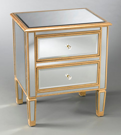 """Silver Mirror - 28""""t X 24""""w X 18""""d Bedside or Accent Chest finished in Gold Parcel Gilt - Contemporary Modern Style, 5734"""