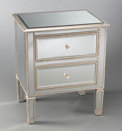 """Silver Mirror - 28""""t X 24""""w X 18""""d Bedside or Accent Chest finished in Silver Parcel Gilt - Contemporary Modern Style, 5733"""