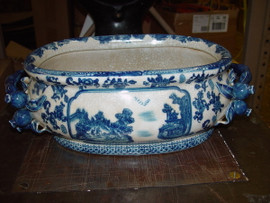 Blue and White - Luxury Handmade Reproduction Chinese Porcelain - 16 Inch Foot Bath | Centerpiece Planter - Style F591