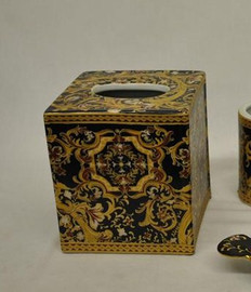 A Ebony Black and Gold Medallion, Luxury Handmade Reproduction Chinese Porcelain, 6 Inch Boudoir - Boutique Tissue Box, Style M422