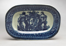 Blue and White Porcelain Transferware Decorative Plate | Platter | Renaissance Design | Oblong, 1.5t x 11L x 7.5d