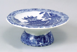 Blue and White Decorative Transferware Porcelain Round Fruit Bowl, 10dia. X 4t
