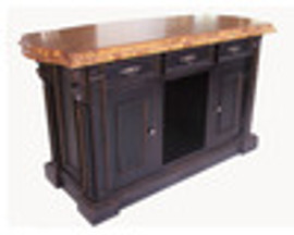 Custom Decorator - Hardwood Hand Carved - Classic 65 Inch Kitchen Island with Teak Serpentine Top 5661 C - a523tf - Teak