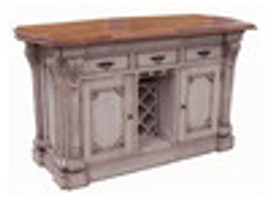 Custom Decorator - Hardwood Hand Carved - Classic 65 Inch Kitchen Island with Teak Serpentine Top